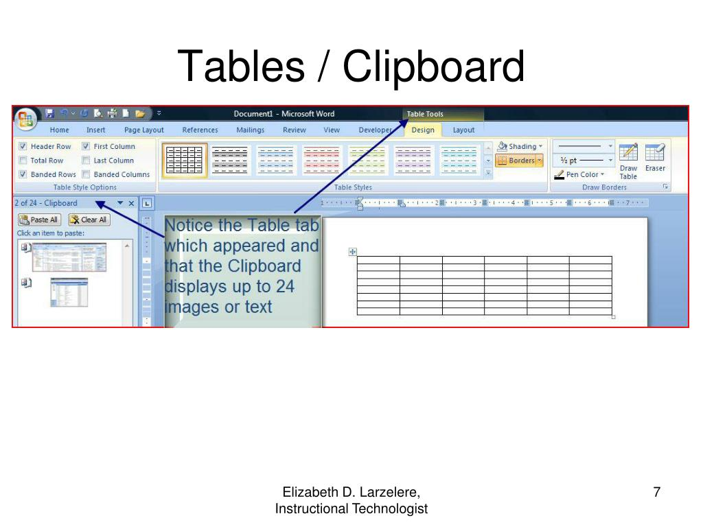 Tables / Clipboard