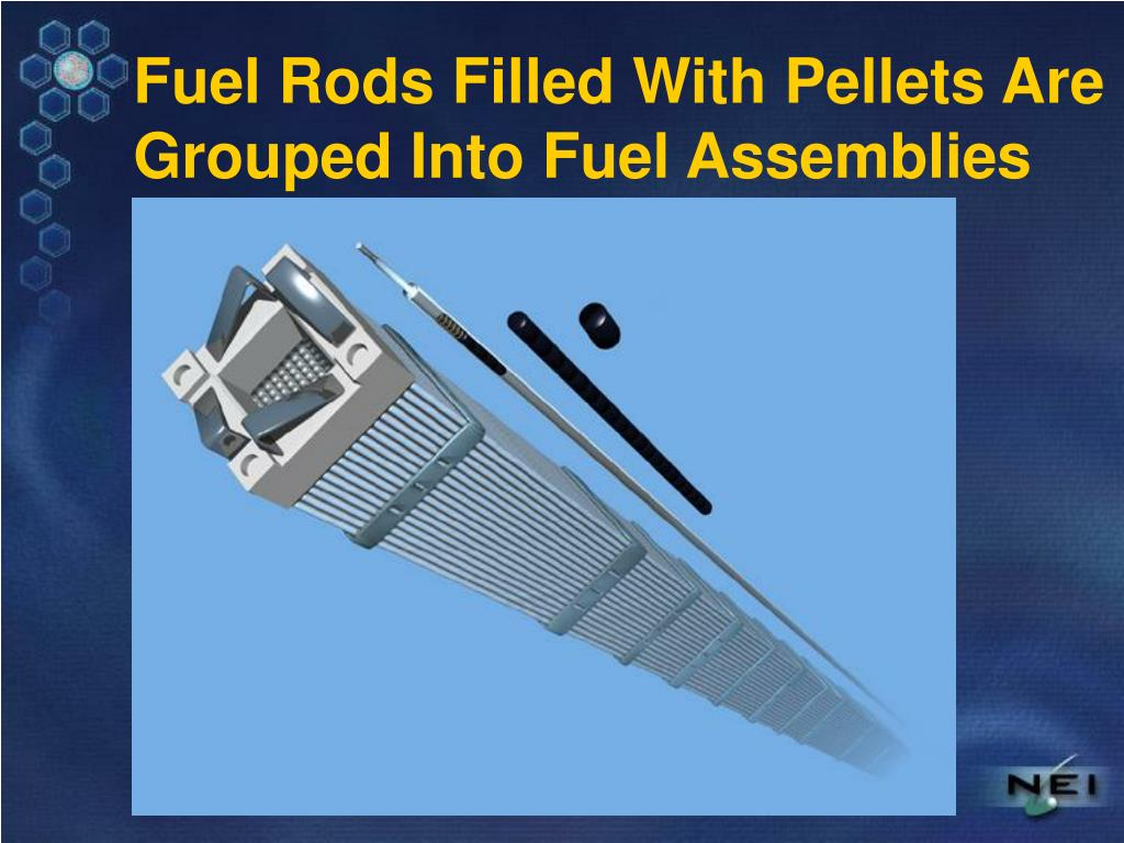 Fuel Rods Filled With Pellets Are Grouped Into Fuel Assemblies