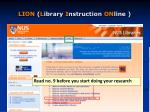 lion l ibrary i nstruction on line