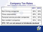 company tax rates years of assessment ending between 1 4 10 and 31 3 11