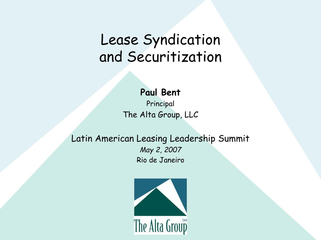 PPT - Lease Syndication and Securitization PowerPoint