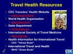 travel health resources