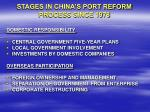 stages in china s port reform process since 1978