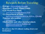 research before traveling