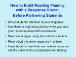 how to build reading fluency with a response starter before partnering students