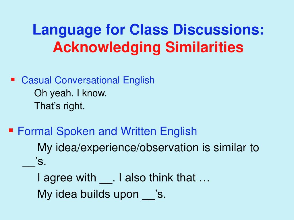 Language for Class Discussions: