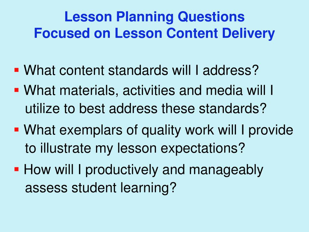 Lesson Planning Questions