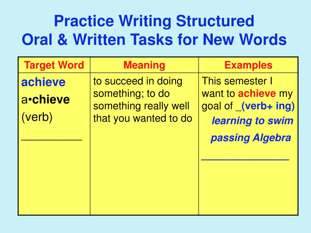 Practice Writing Structured