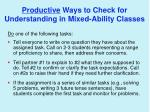 productive ways to check for understanding in mixed ability classes
