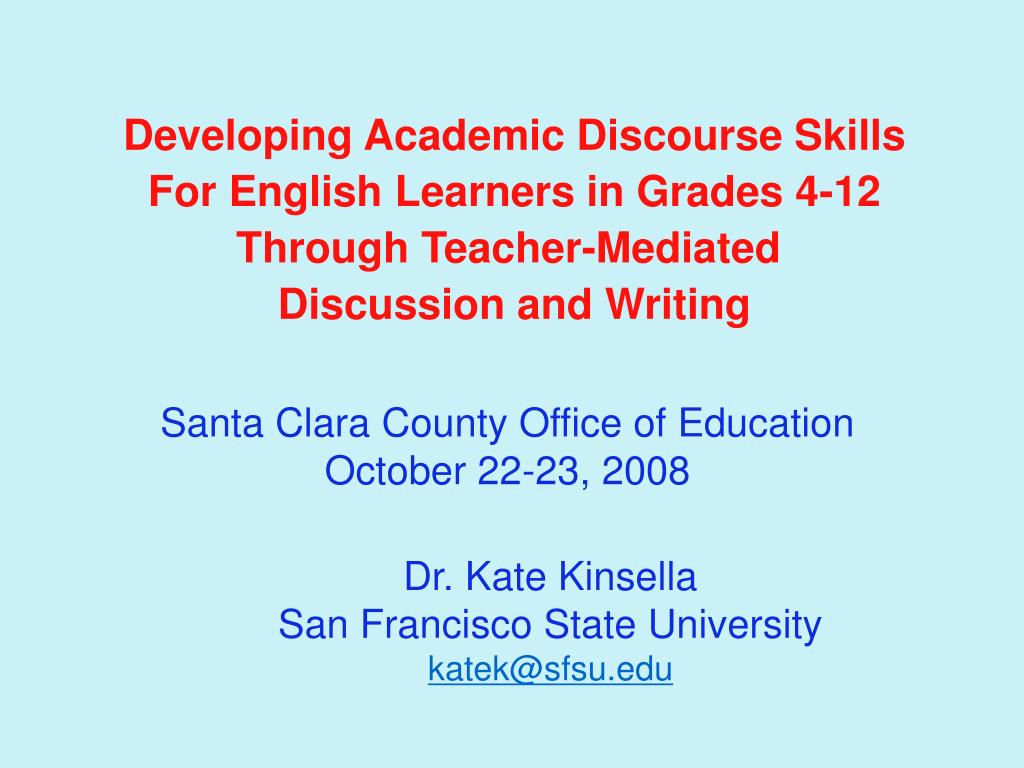 Developing Academic Discourse Skills