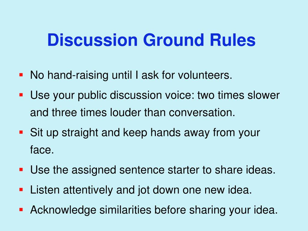 Discussion Ground Rules