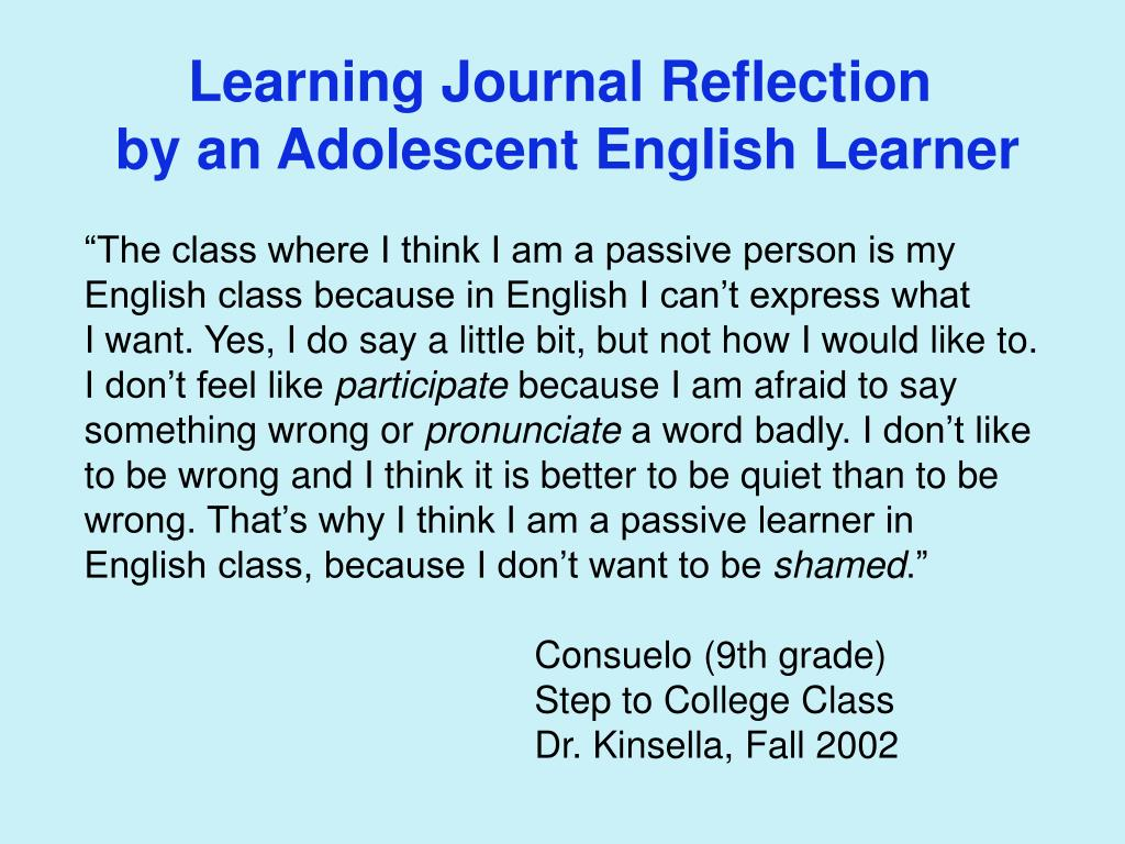 Learning Journal Reflection