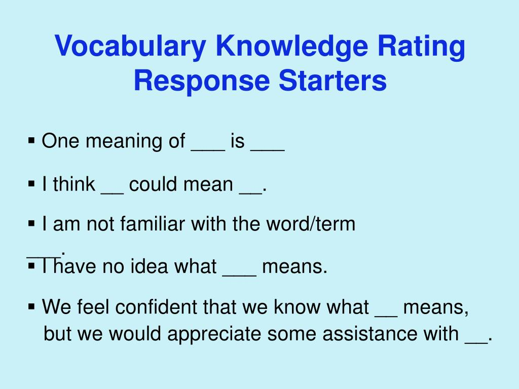 Vocabulary Knowledge Rating