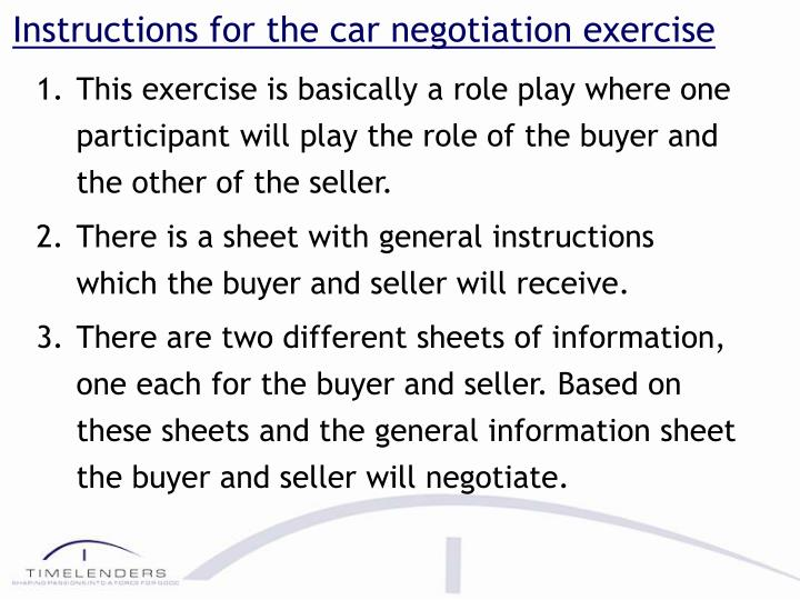 instructions for the car negotiation exercise n.