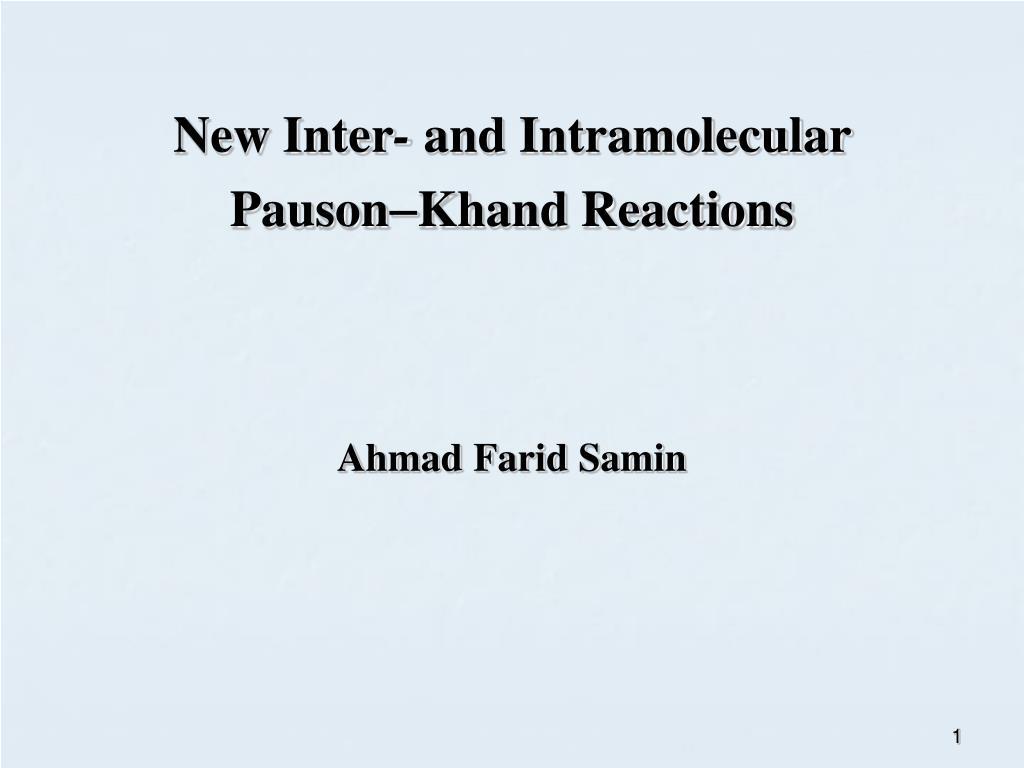 new inter and intramolecular pauson khand reactions l.