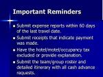 important reminders62