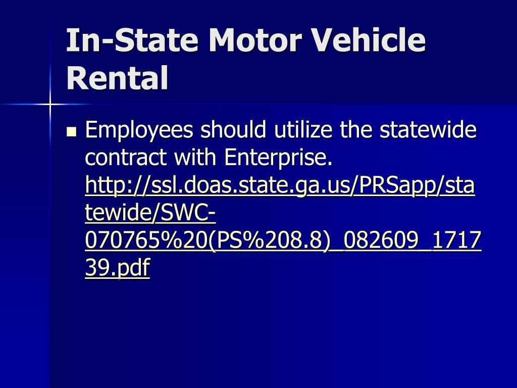 In-State Motor Vehicle Rental