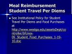 meal reimbursement student travel per diems