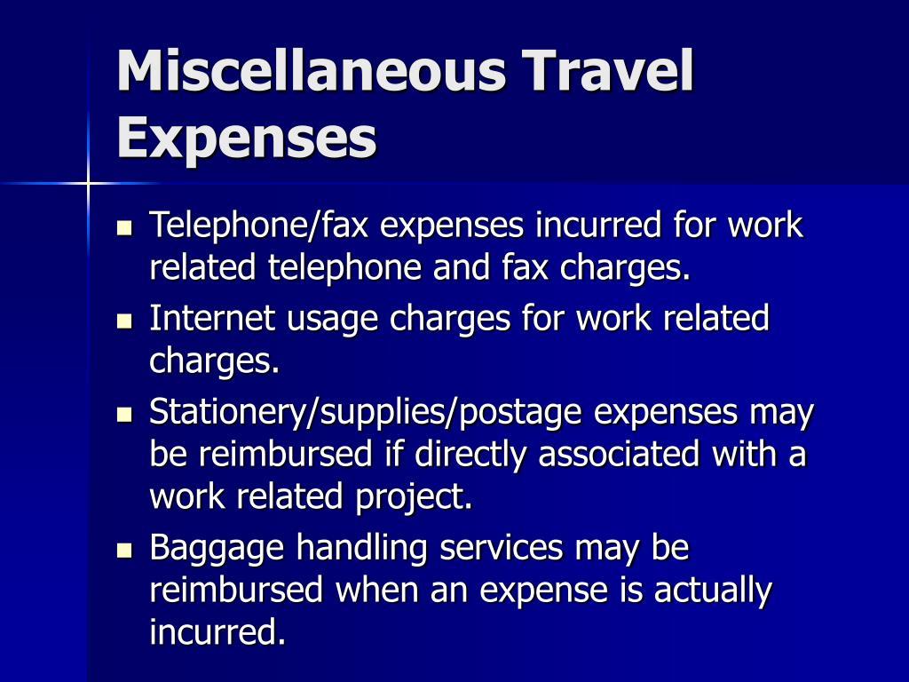 Miscellaneous Travel Expenses