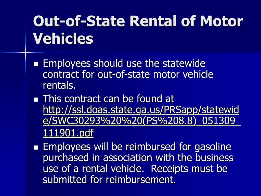 Out-of-State Rental of Motor Vehicles