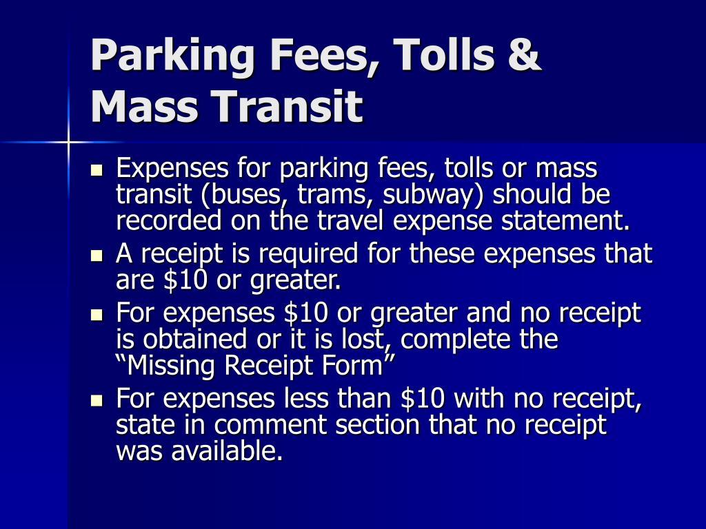 Parking Fees, Tolls & Mass Transit