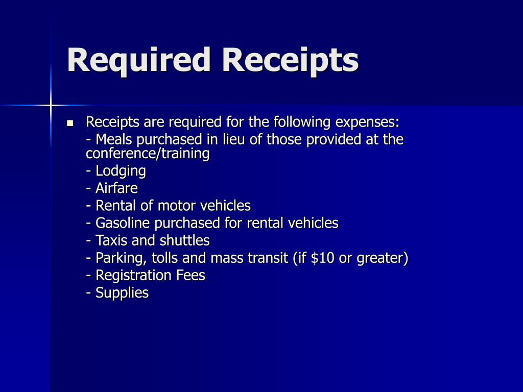 Required Receipts
