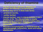deficiency of thiamine