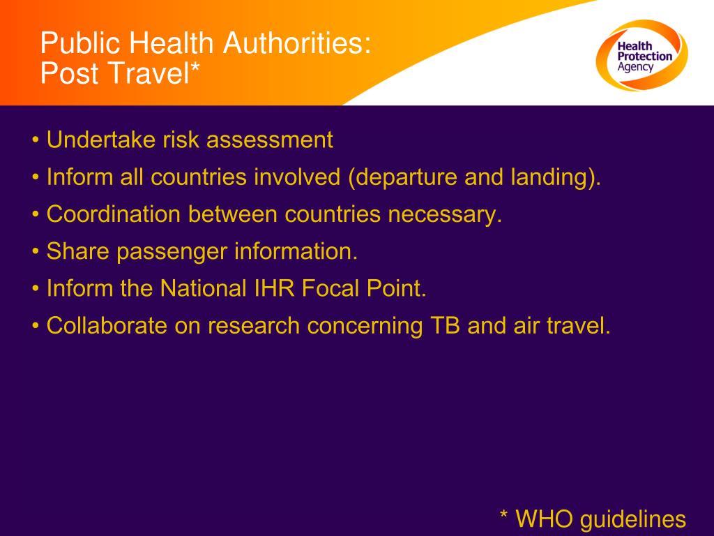 Public Health Authorities: Post Travel*