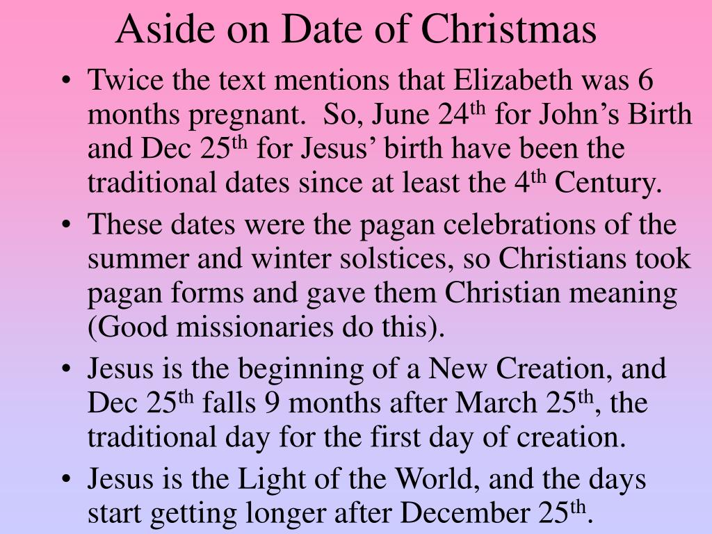 Aside on Date of Christmas