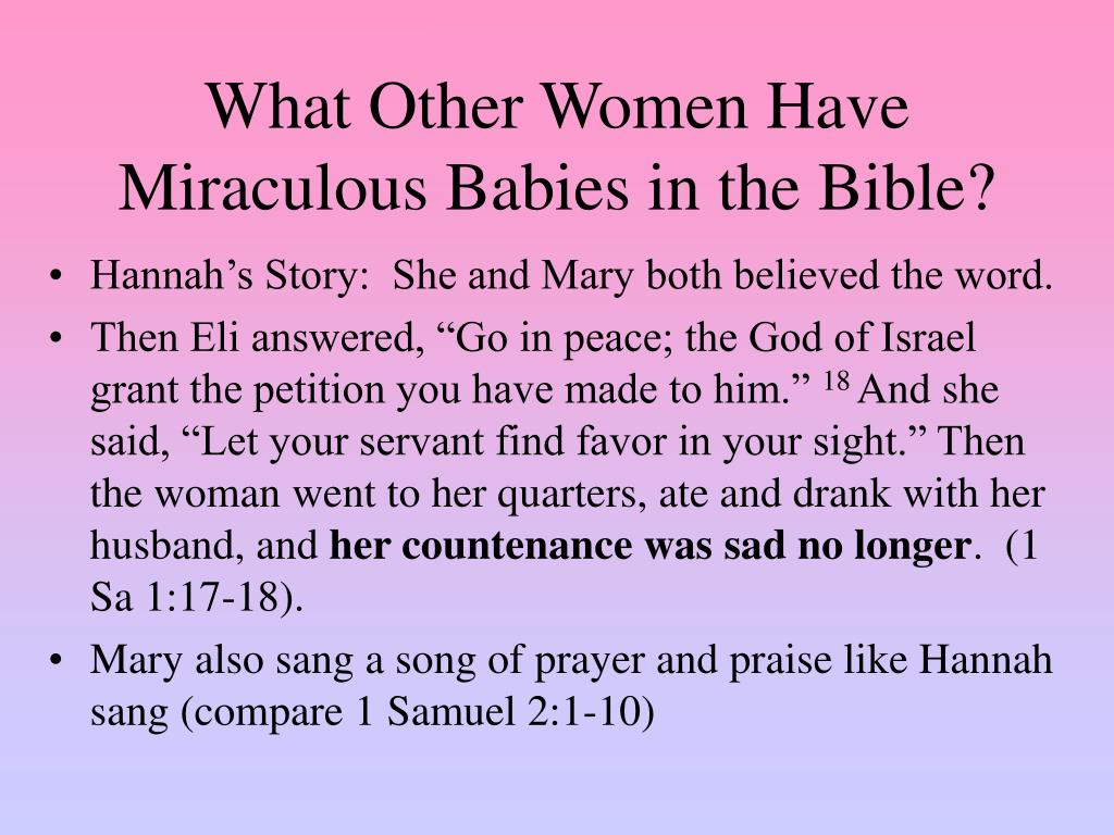 What Other Women Have Miraculous Babies in the Bible?