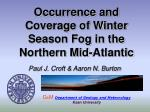occurrence and coverage of winter season fog in the northern mid atlantic