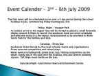 event calender 3 rd 6th july 2009