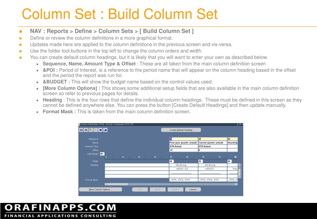 Column Set : Build Column Set