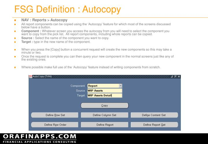 Fsg definition autocopy