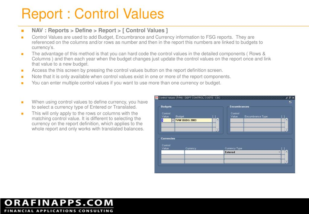 Report : Control Values
