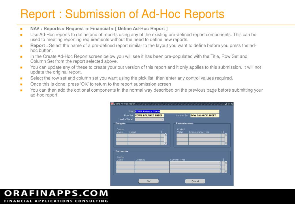 Report : Submission of Ad-Hoc Reports
