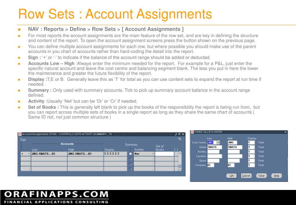 Row Sets : Account Assignments