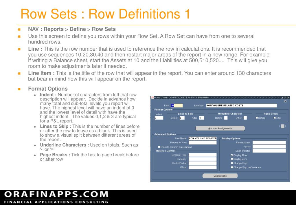 Row Sets : Row Definitions 1
