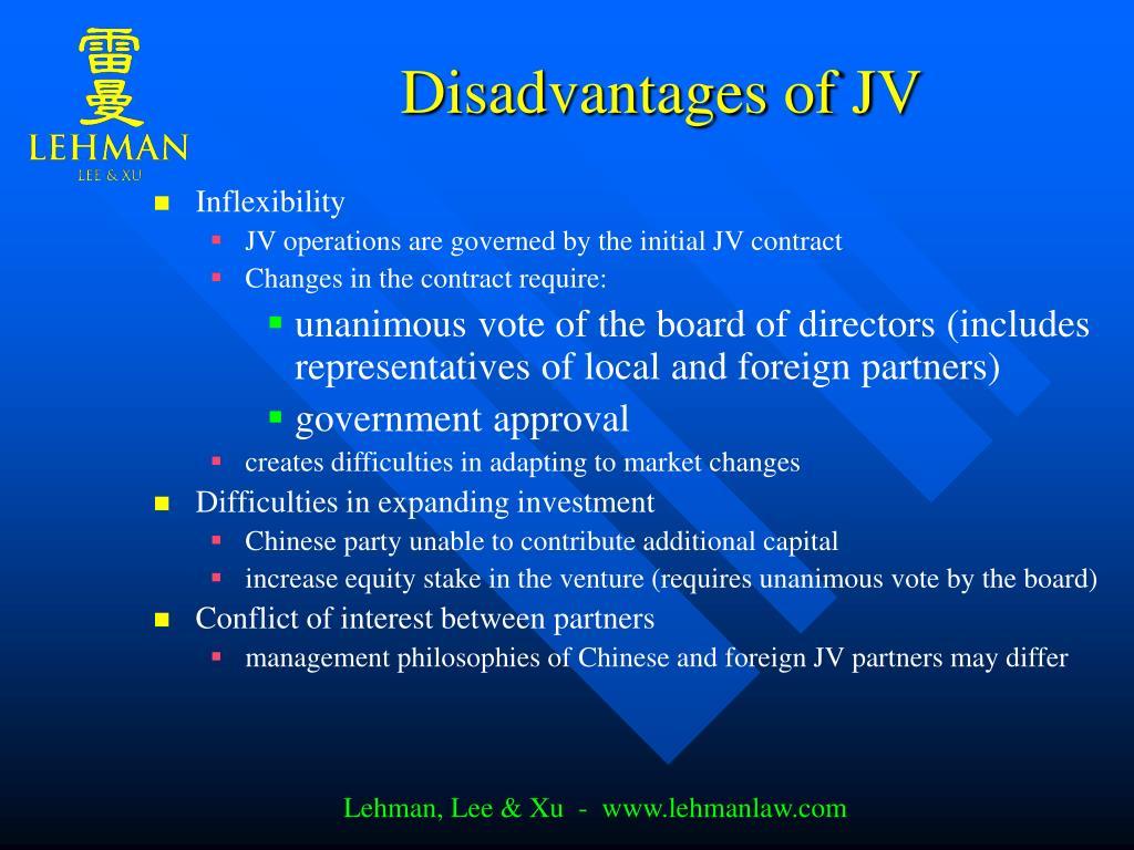 Disadvantages of JV