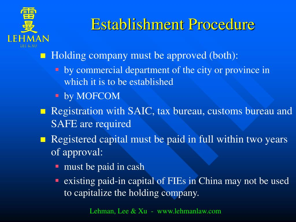 Establishment Procedure