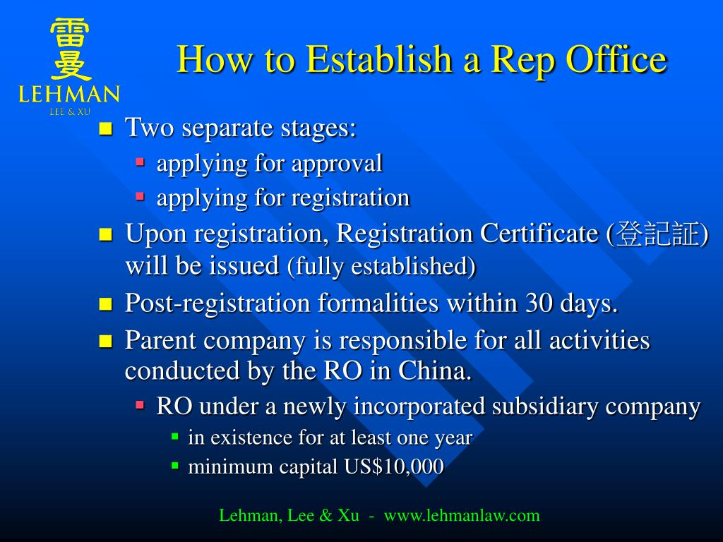 How to Establish a Rep Office