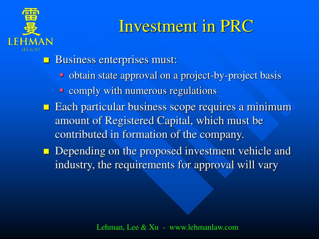Investment in PRC