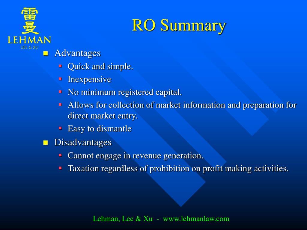 RO Summary