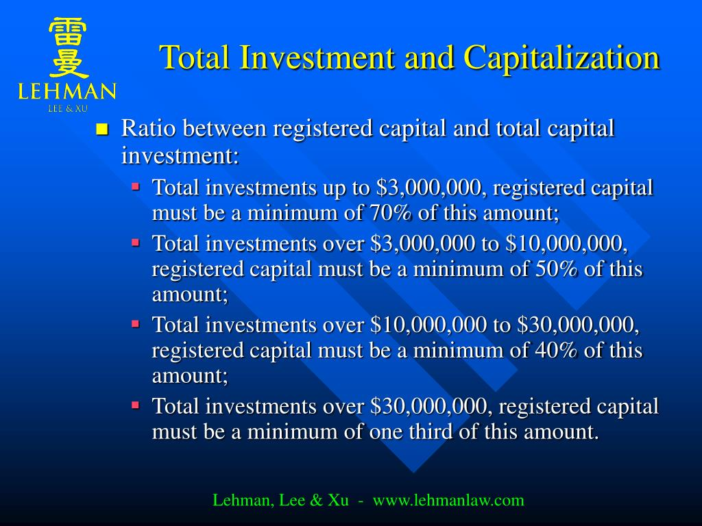 Total Investment and Capitalization