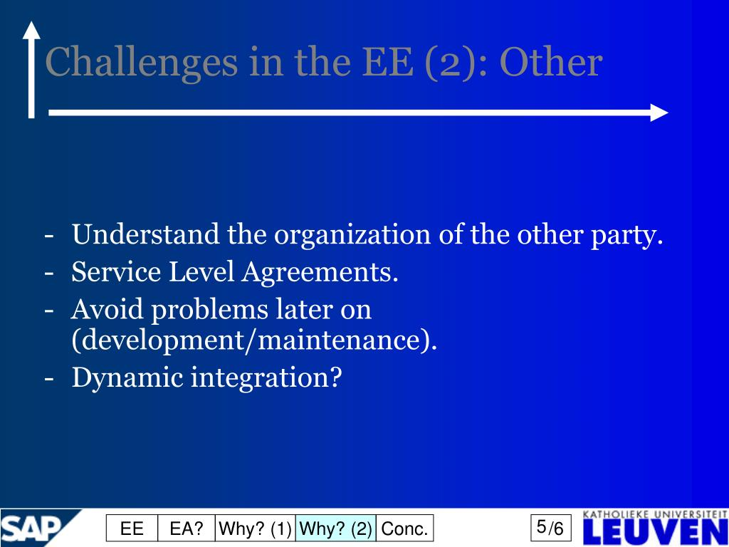 Challenges in the EE (2): Other