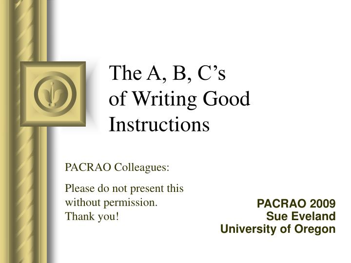 the a b c s of writing good instructions n.