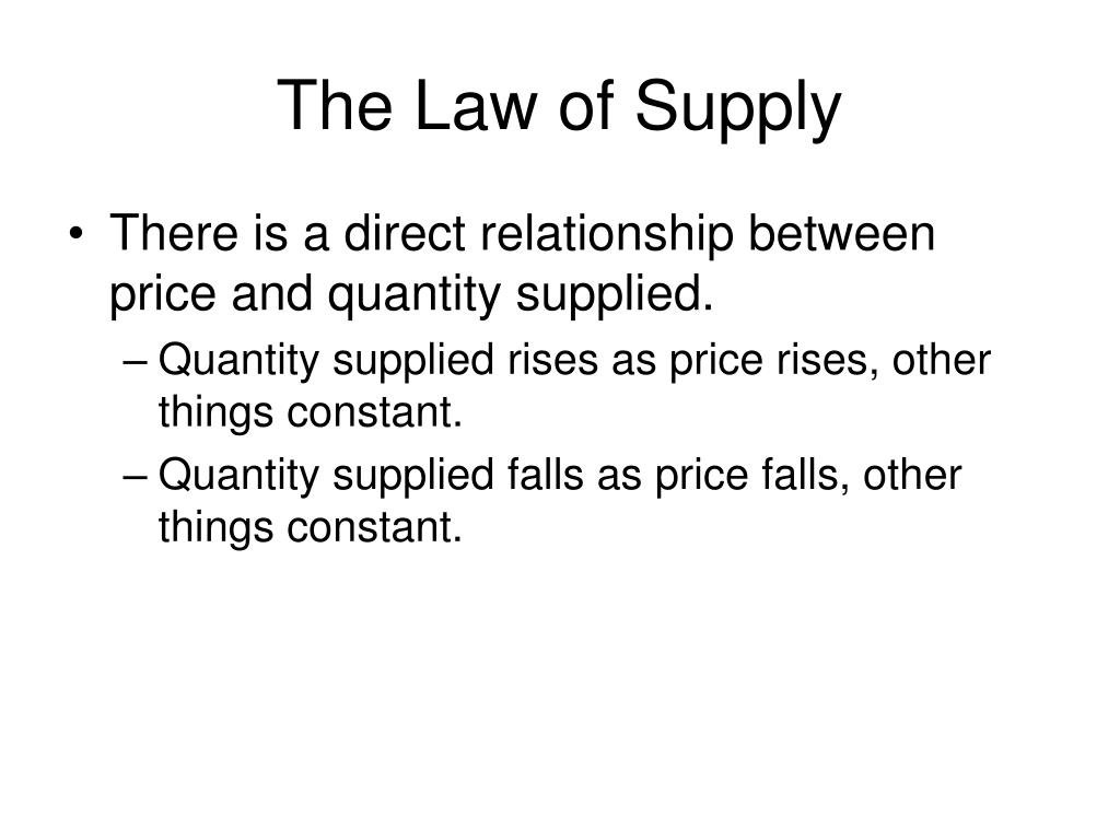 The Law of Supply