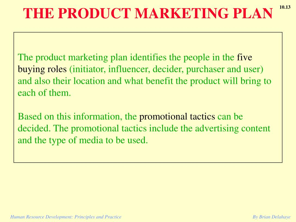 THE PRODUCT MARKETING PLAN