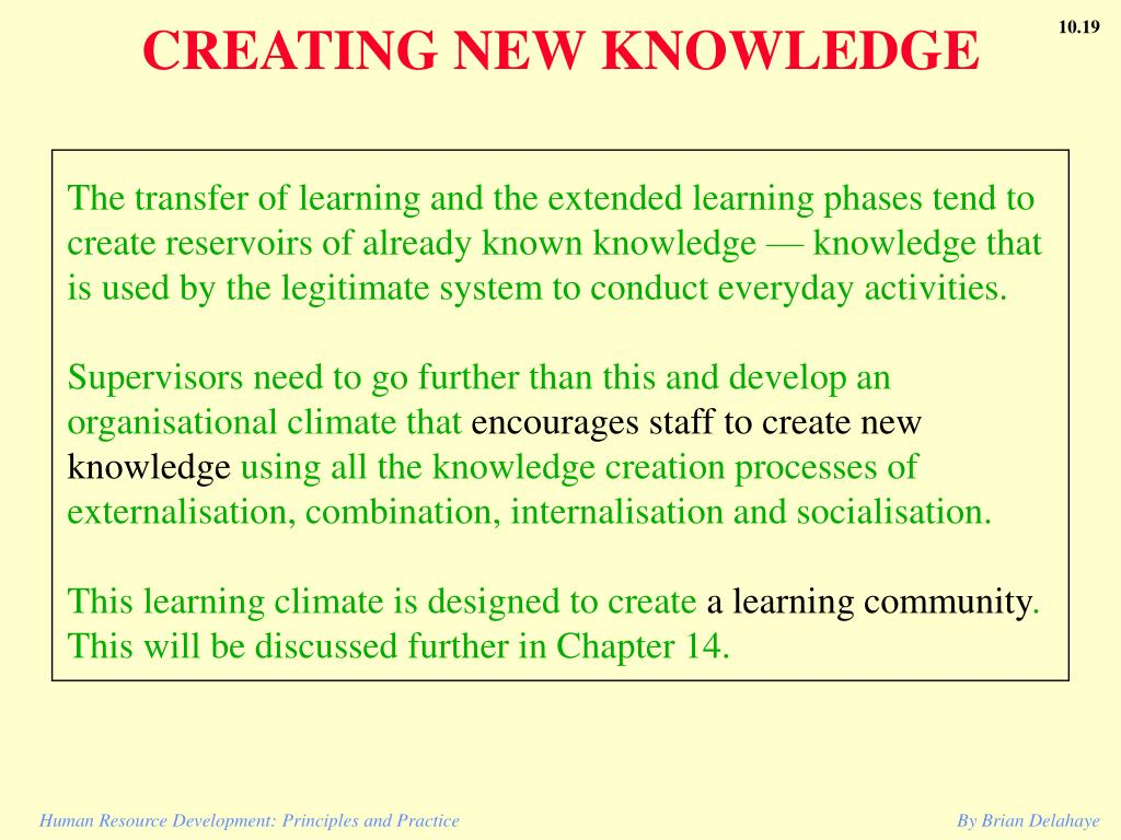 CREATING NEW KNOWLEDGE