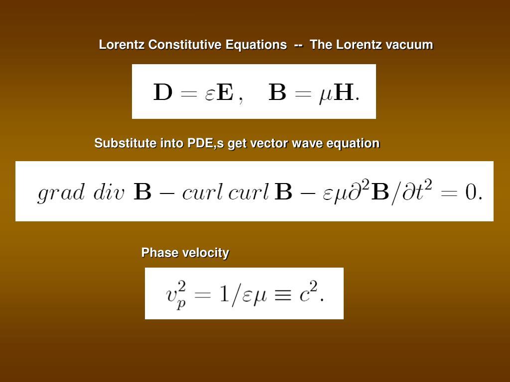 Lorentz Constitutive Equations  --  The Lorentz vacuum